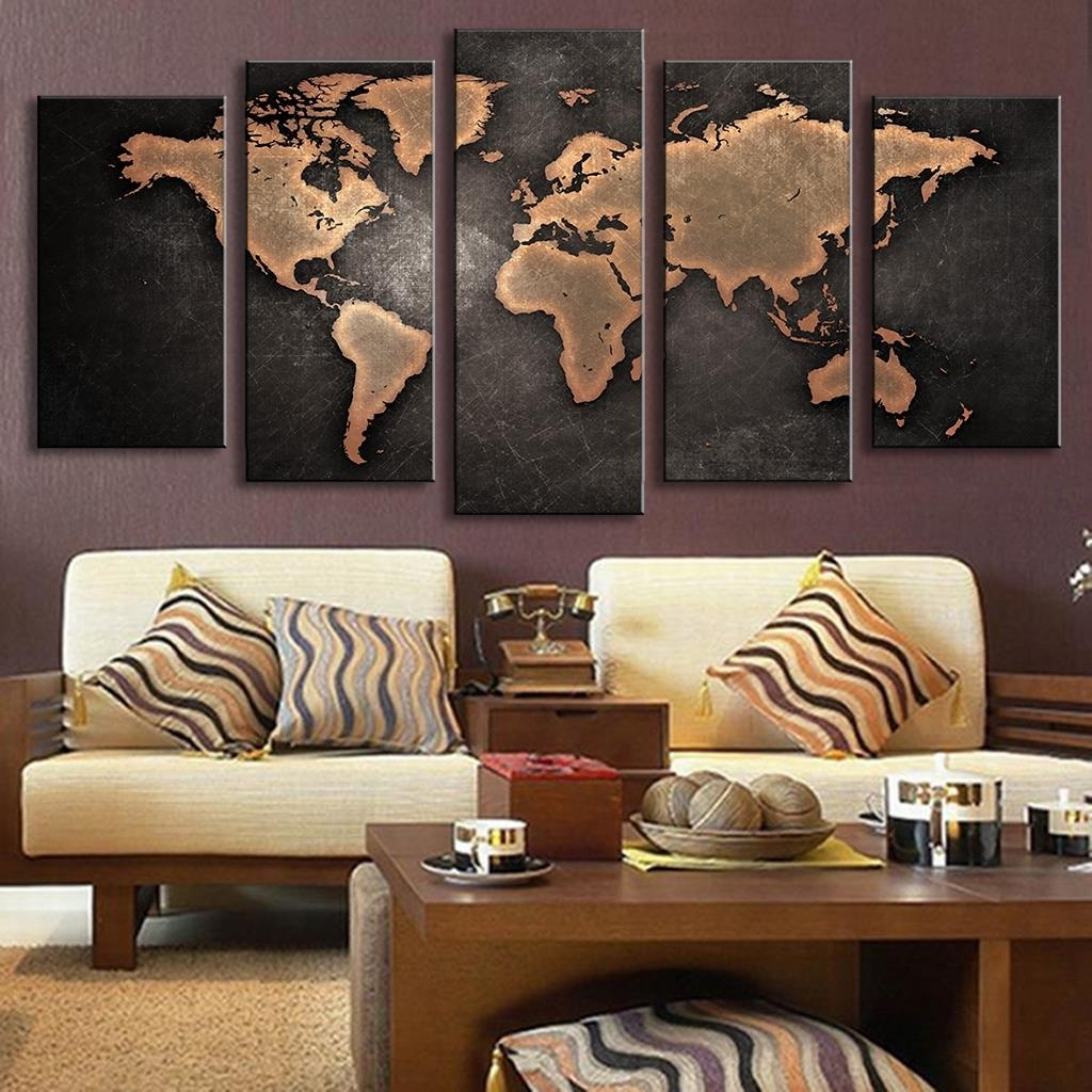5 Pieces Modular Pictures For Home Abstract Wall Art Painting World Regarding Current Wall Art World Map (View 3 of 20)