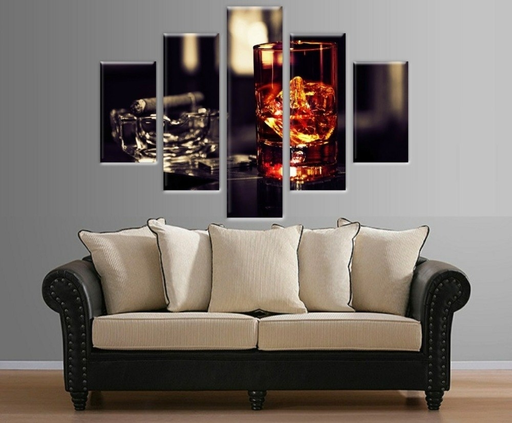 5 Pieces Multi Panel Wine Glass Picture Printed On Canvas Wall Art In Most Recent Multi Piece Wall Art (View 5 of 20)