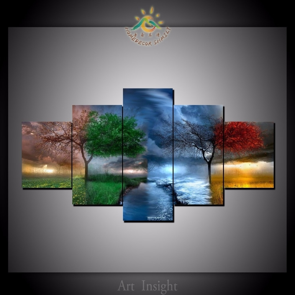 5 Pieces/set Four Seasons Tree Wall Art Paintings Picture Painting Pertaining To 2017 Wall Art Paintings (View 4 of 20)