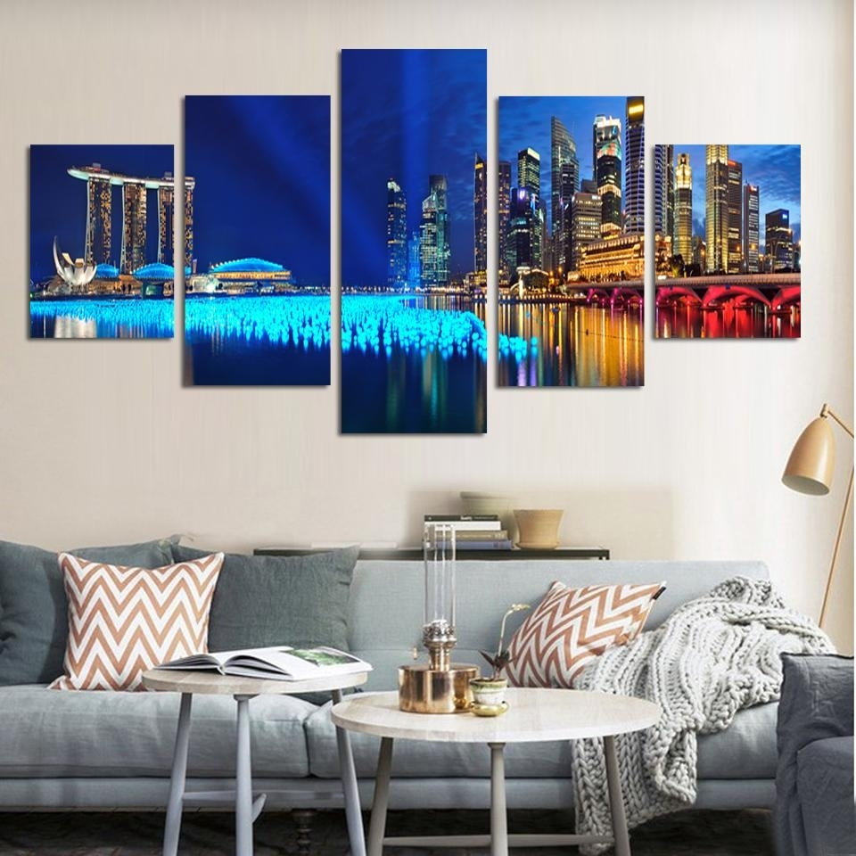 5 Pieces/set Landscape Wall Art Modern City Night Pictures Prints On With Regard To Newest Canvas Wall Art Sets (View 2 of 15)