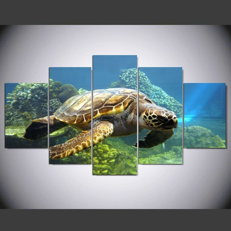5 Pieces Turtles Canvas Painting Pictures For Living Room The Pertaining To Most Current Sea Turtle Canvas Wall Art (View 4 of 20)