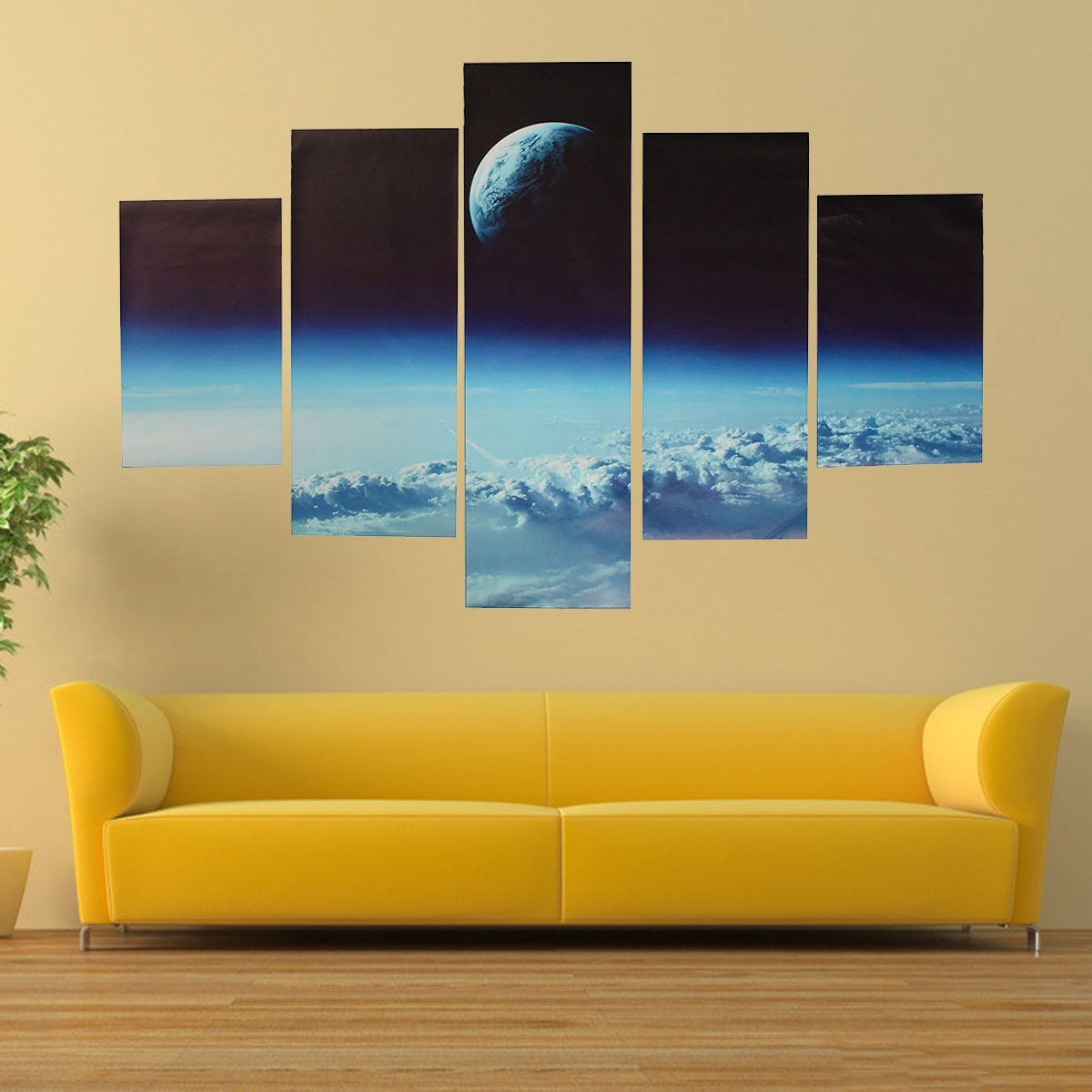 5Pcs Canvas Print Painting Cloud Veil Outer Space Modern Wall Art with regard to Recent Modern Painting Canvas Wall Art