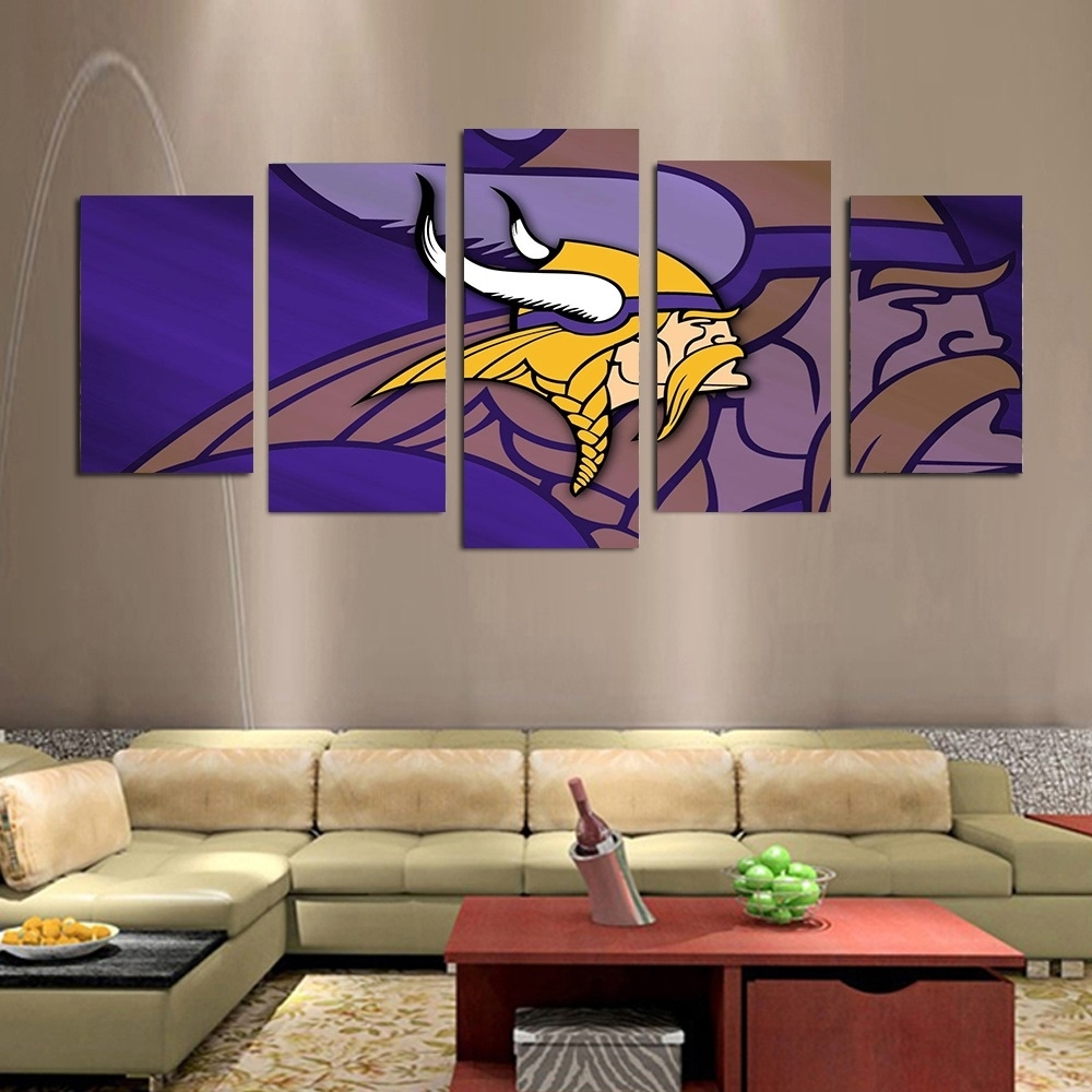 5Pcs Cuadros Nfl Minnesota Vikings Team Logo Oil Painting On Canvas Inside Current Nfl Wall Art (View 4 of 15)