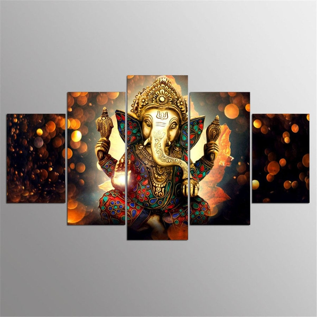 5Pcs Ganesha Painting Abstract Print Modern Canvas Wall Art Poster Intended For Latest Modern Wall Art Decors (View 4 of 20)