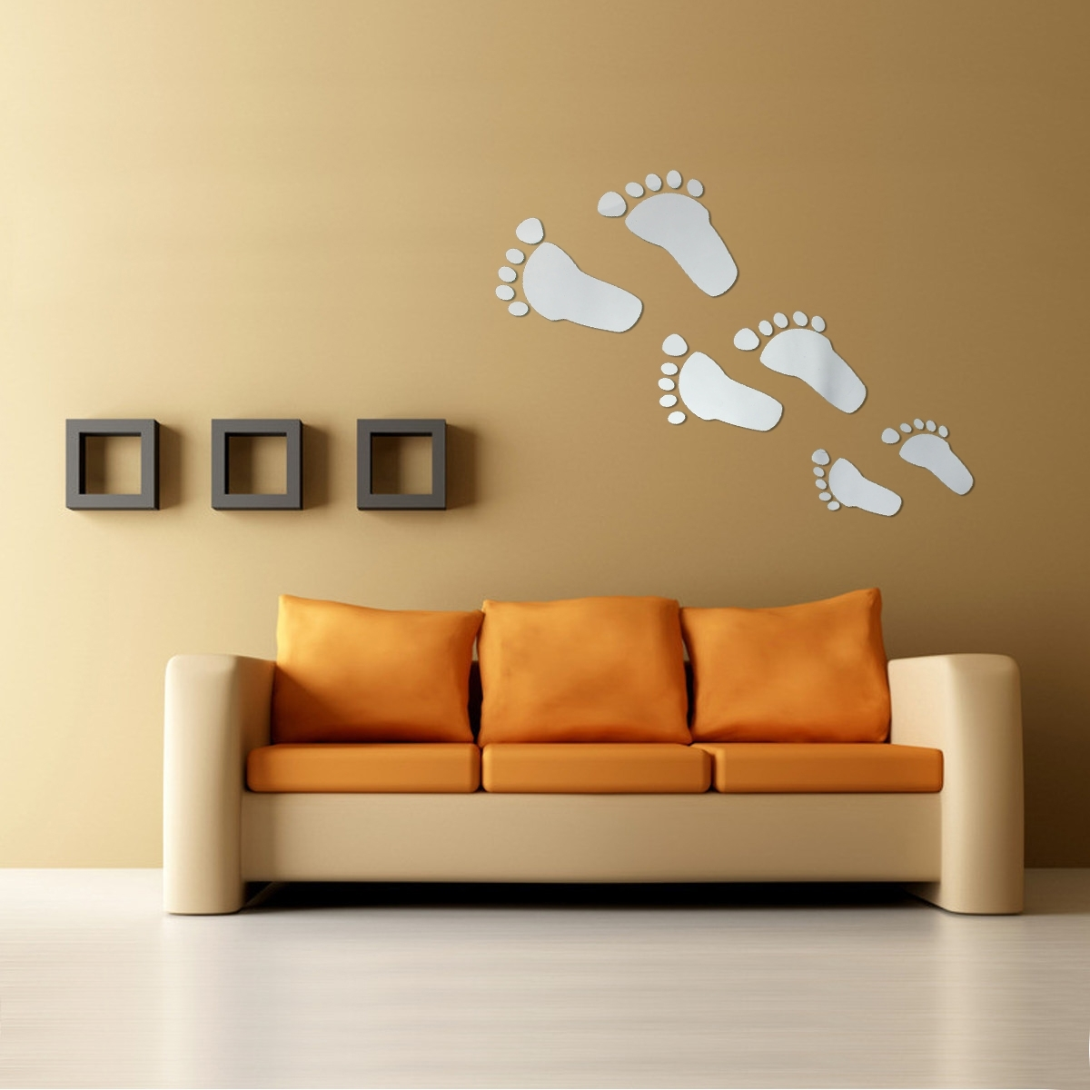 6Pcs Diy Footprint Acrylic Wall Sticker Fat Footprints Mirror Wall In 2017 Acrylic Wall Art (Gallery 13 of 20)