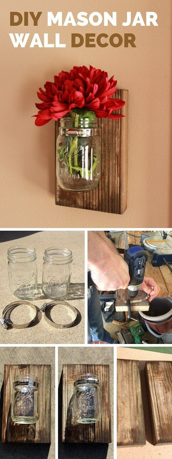 99 Best Fun Things W Mason Jars Images On Pinterest Inspiration Of Intended For Newest Mason Jar Wall Art (View 18 of 20)