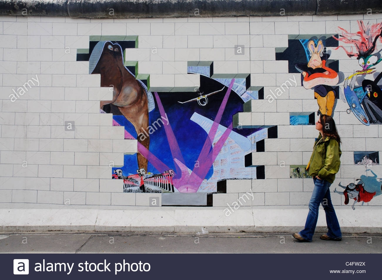 A Girl Walks Past The Album Artwork Of Pink Floyd The Wall Painted Pertaining To Current Pink Floyd The Wall Art (View 16 of 20)