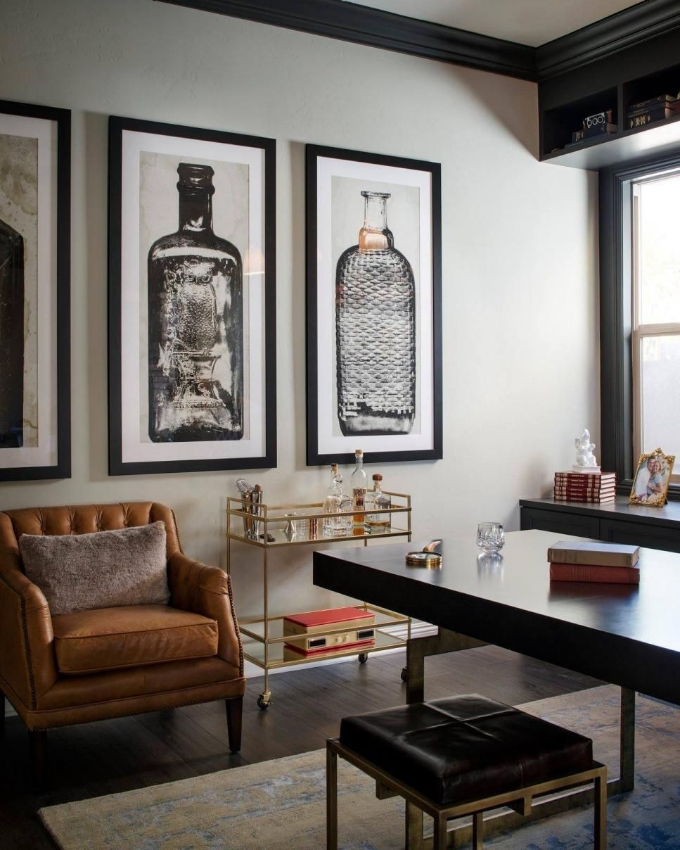 A Glass And Gold Bar Cart Brown Leather Armchair And Oversized Regarding Most Popular Manly Wall Art (View 2 of 20)