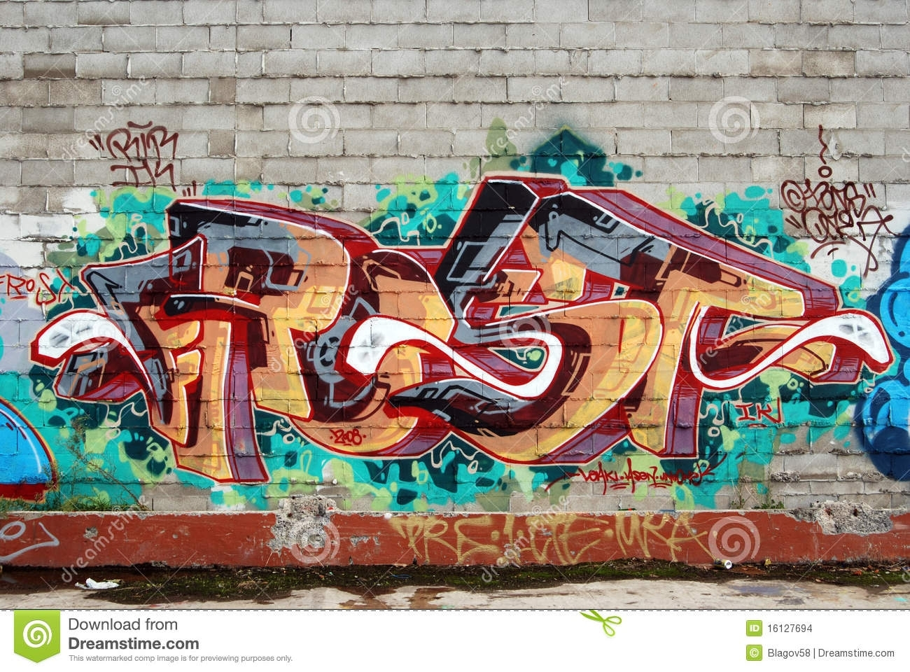 A Wall Vandalized With Street Graffiti Art Stock Photo – Image Of Pertaining To Most Current Graffiti Wall Art (View 1 of 20)