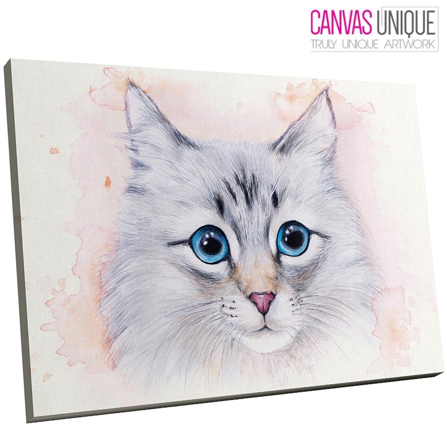 A775 Blue Grey Watercolor Kitten Cat Animal Canvas Wall Art Framed Regarding Newest Cat Canvas Wall Art (View 10 of 20)