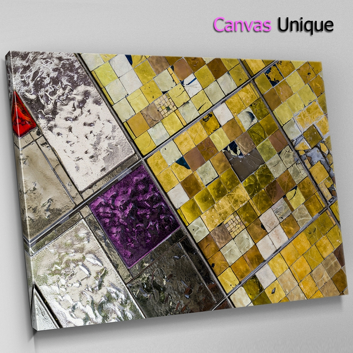 Ab1468 Purple Tile Yellow Mosaic Abstract Wall Art Picture Large With Most Recent Tile Canvas Wall Art (View 7 of 20)