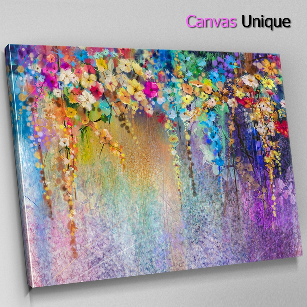 Ab1535 Purple Blue Modern Floral Abstract Wall Art Picture Large Regarding Current Modern Large Canvas Wall Art (View 8 of 20)