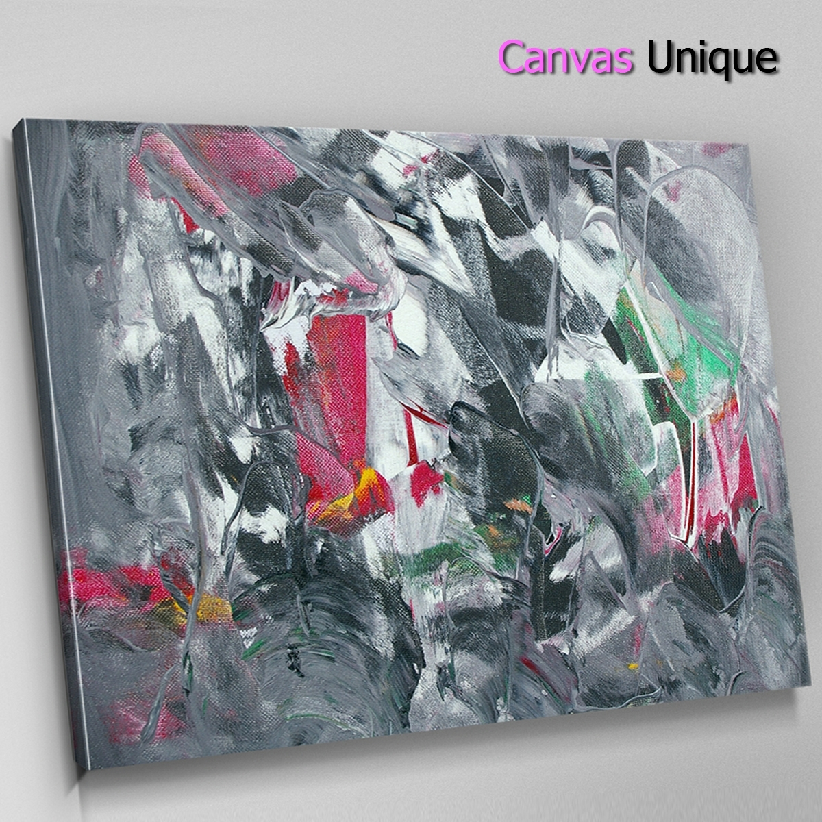 Ab1543 Grey Red Modern Paint Effect Abstract Wall Art Picture Large Intended For Most Up To Date Large Canvas Painting Wall Art (View 7 of 20)