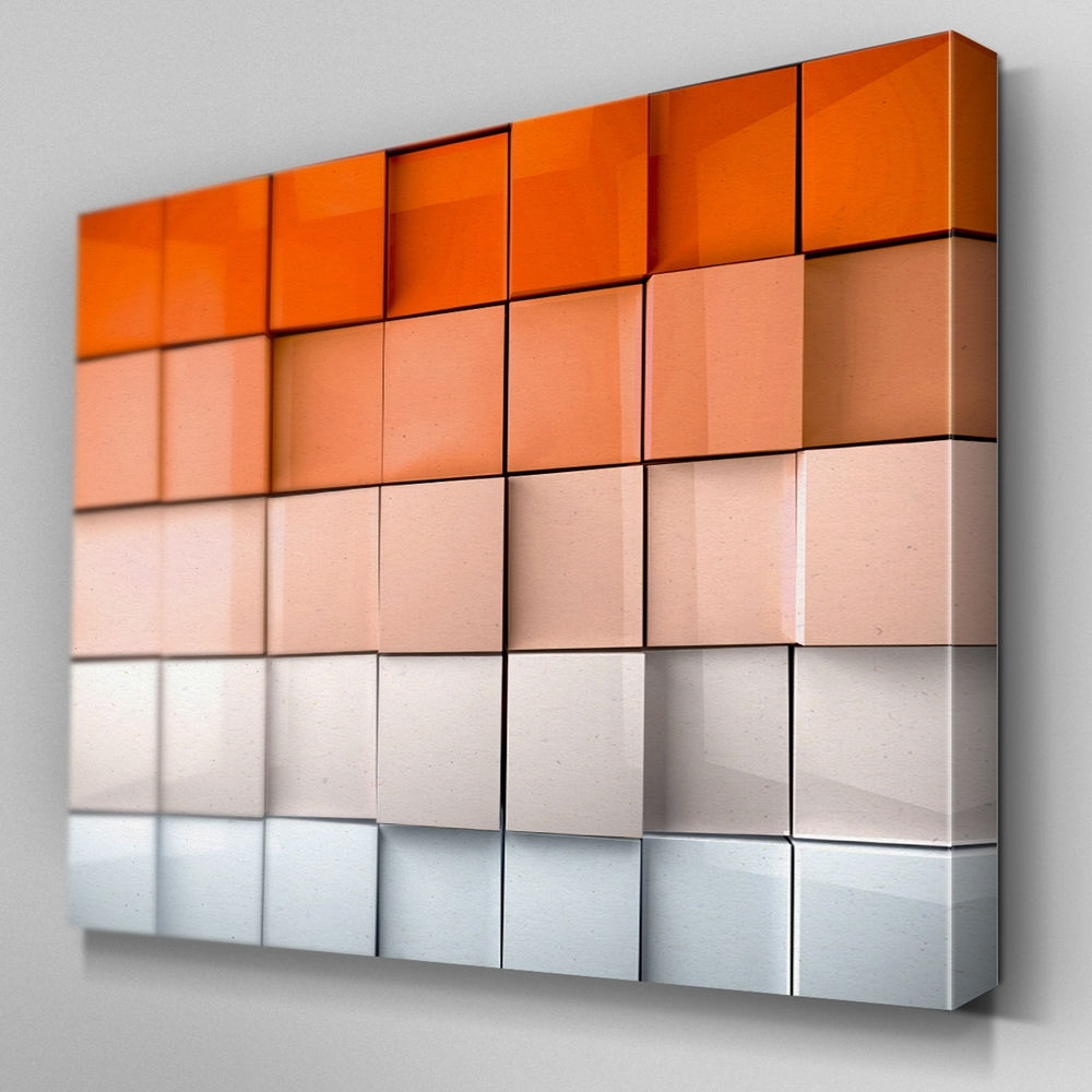 Ab325 Orange Abstract Depth Canvas Wall Art Ready To Hang Picture With Regard To Most Recently Released Orange Wall Art (View 5 of 20)