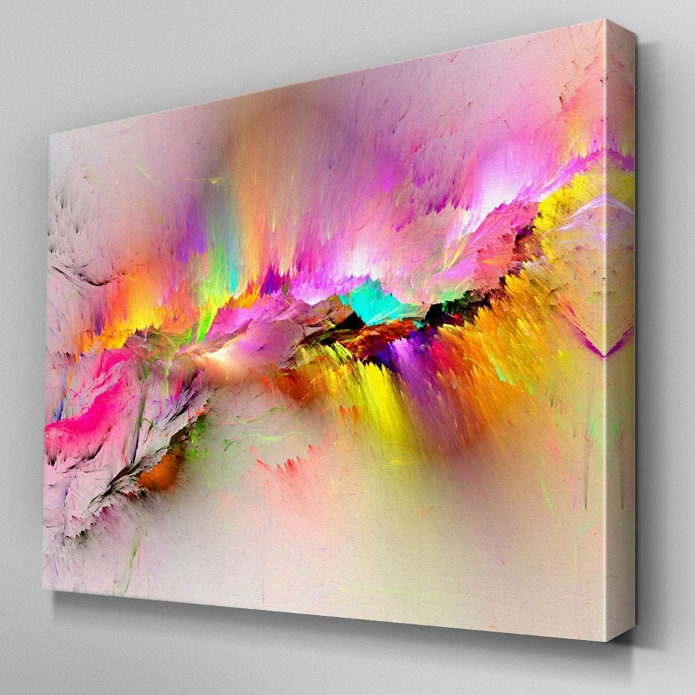Ab970 Modern Pink Yellow Large Canvas Wall Art Abstract Picture In Most Popular Modern Painting Canvas Wall Art (View 6 of 20)