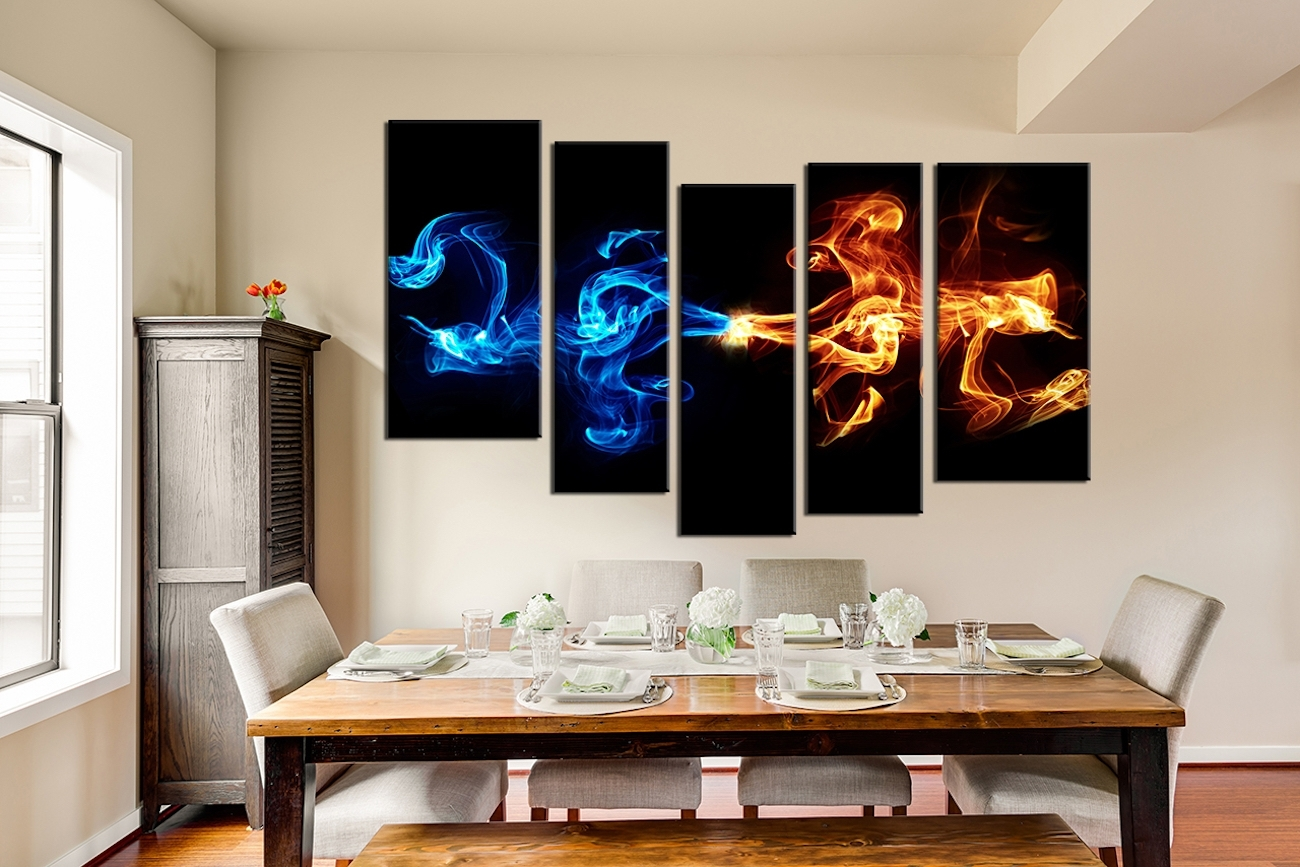 Abstract 5 Piece Smoke Canvas Wall Art » Gadget Flow In Most Current 5 Piece Canvas Wall Art (View 11 of 20)