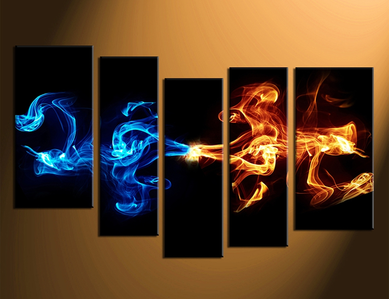 Abstract 5 Piece Smoke Canvas Wall Art » Gadget Flow Intended For Newest Wall Art Canvas (View 3 of 15)