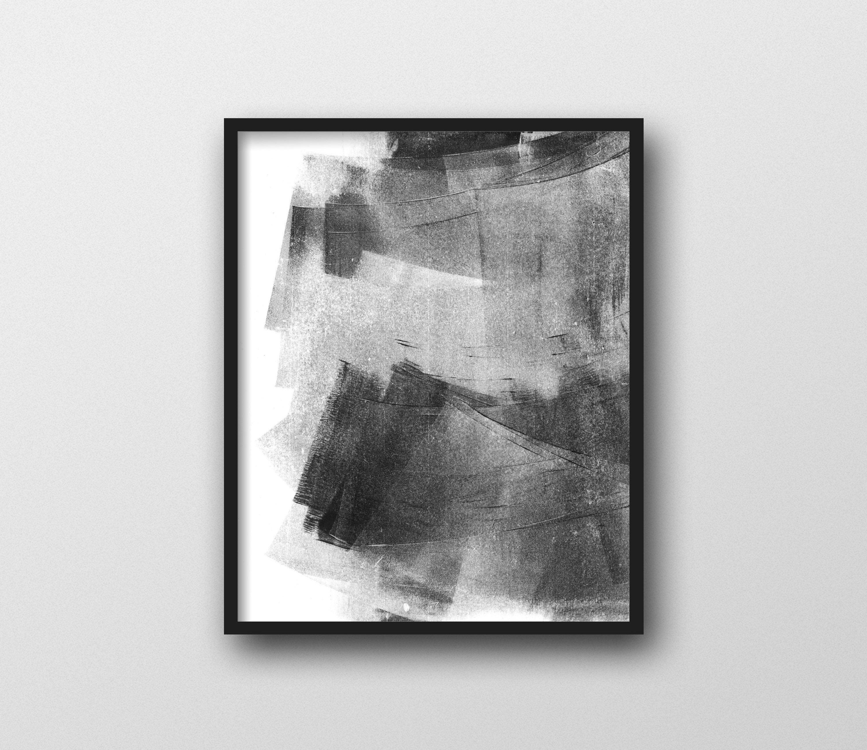 Abstract Art, Black And White Wall Art, Minimalist Painting, Black Pertaining To Most Recent Grey And White Wall Art (View 3 of 20)