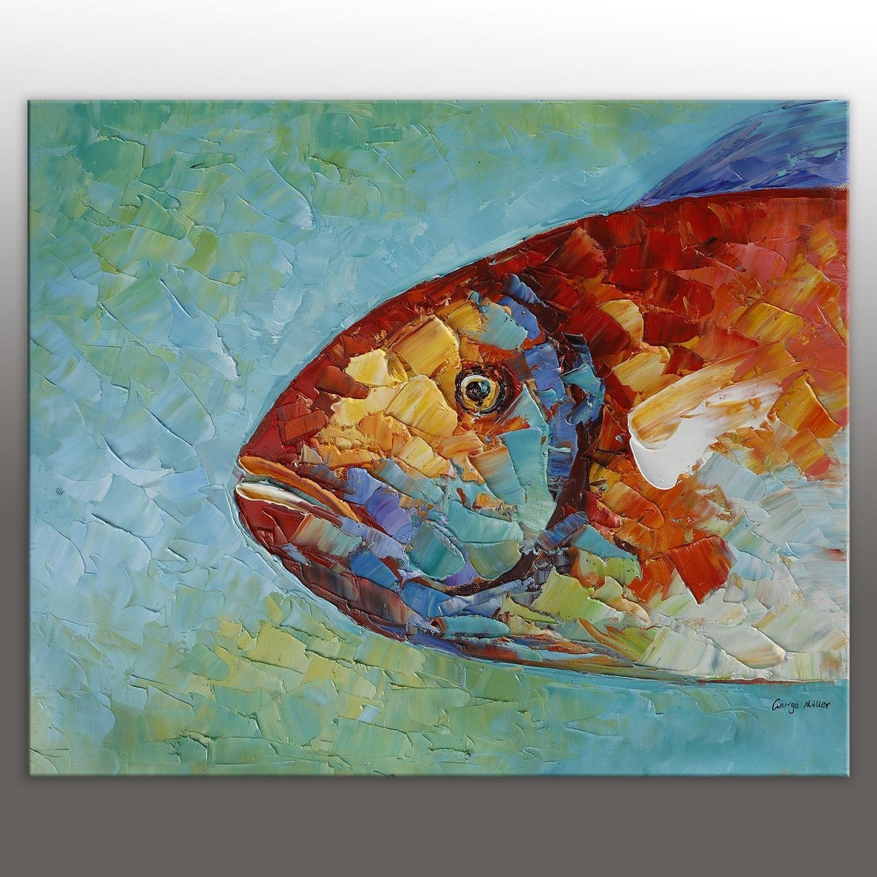 Abstract Art Fish Painting Original Oil Painting Abstract Canvas Art Throughout 2017 Fish Painting Wall Art (View 5 of 20)