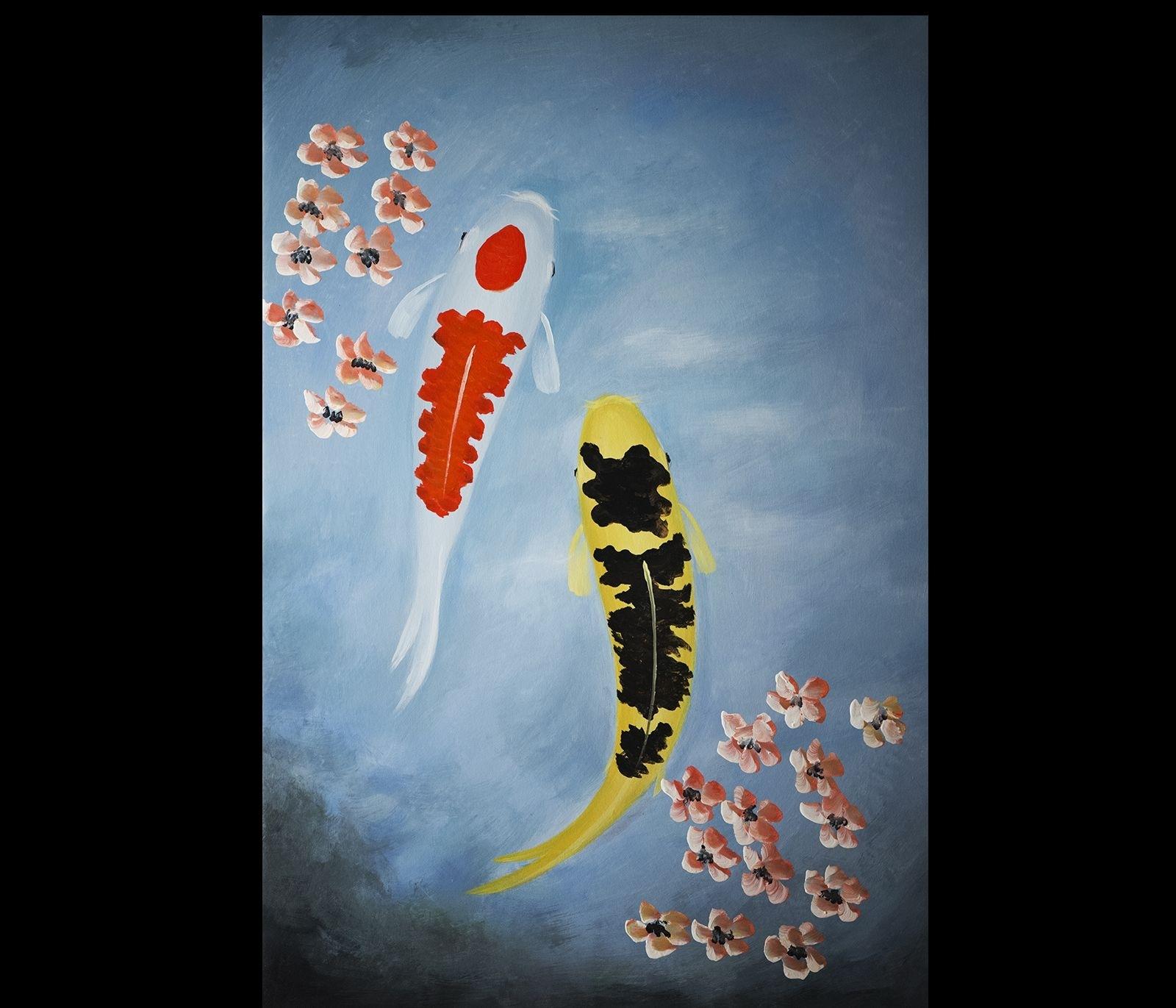 Abstract Art Wall Art Decor Koi Fish Painting Japanese Koi Painting Inside Latest Fish Painting Wall Art (View 6 of 20)