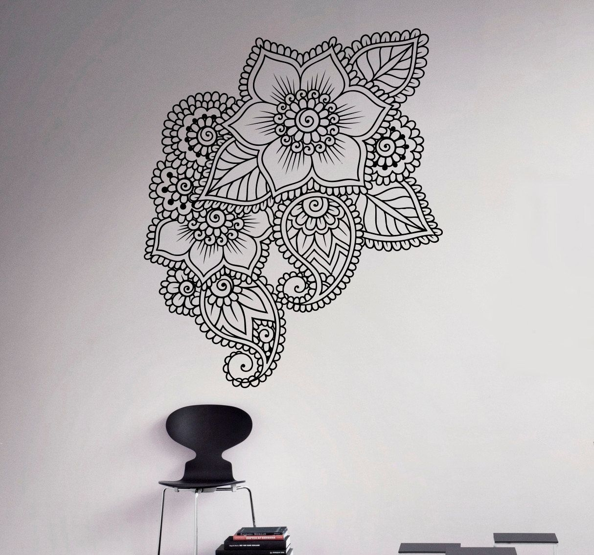 Abstract Flowers Mehndi Wall Vinyl Decal Henna Indian Ornament Wall Throughout Most Recently Released Henna Wall Art (View 2 of 20)