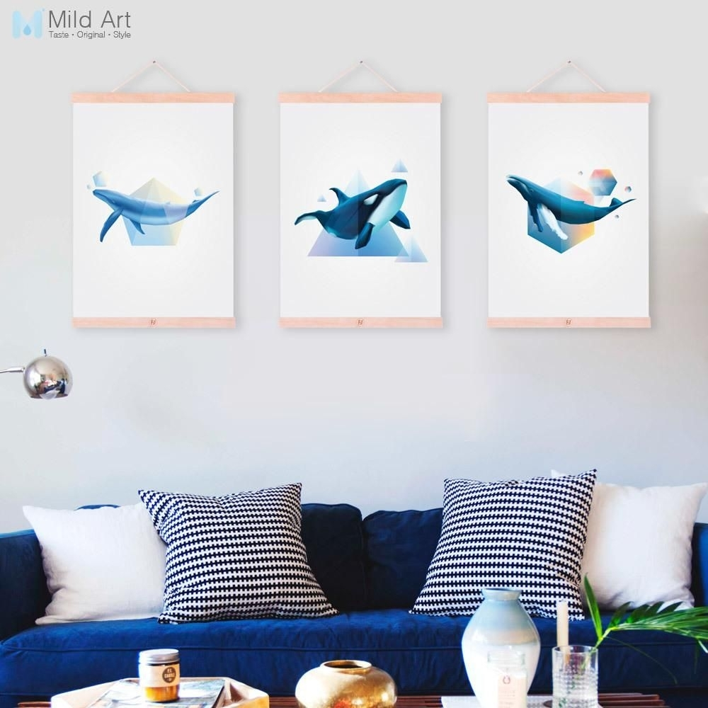 Abstract Large Ocean Animal Whale Wooden Framed Canvas Paintings In Most Recently Released Whale Canvas Wall Art (View 7 of 20)
