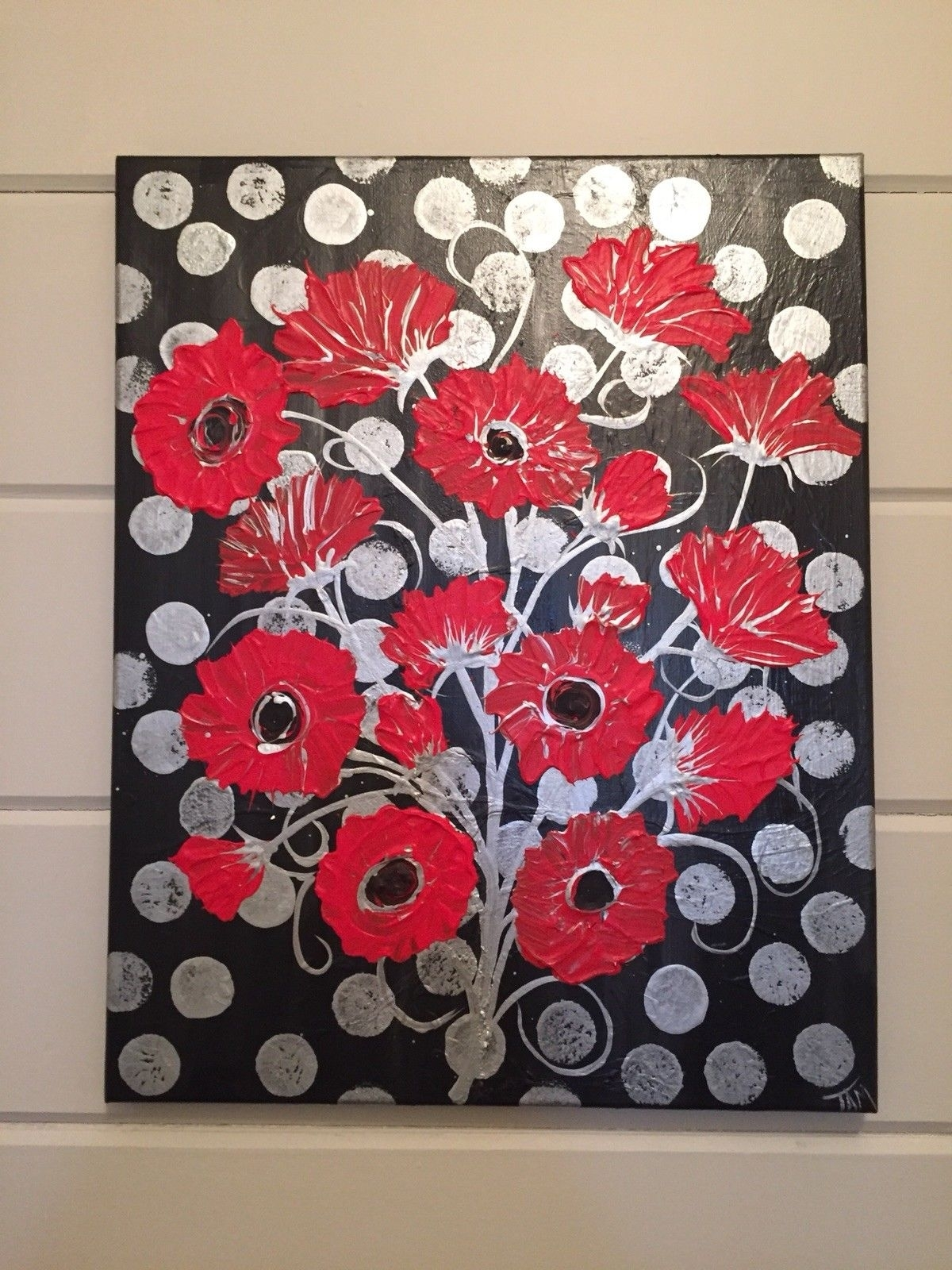 Abstract Painting Framed Original Silver Black Red Floral Wall Art Inside Most Current Red Wall Art (View 4 of 15)