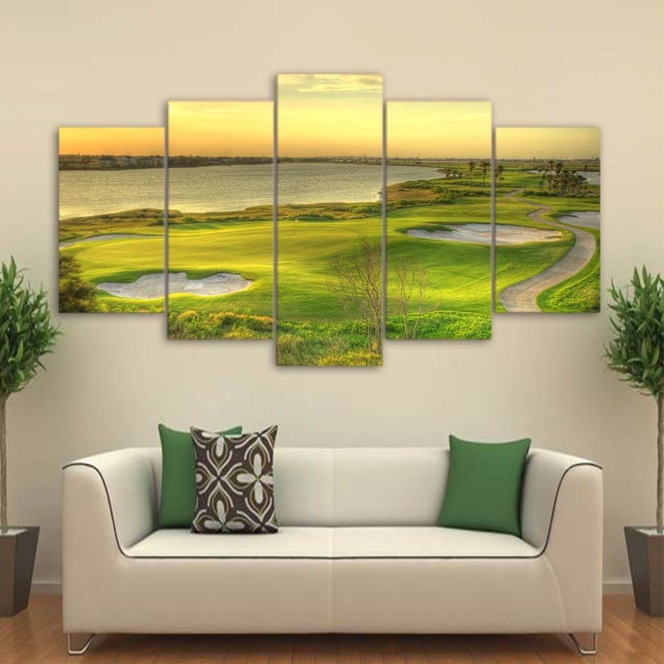 Abstract Painting Wall Art Modular Poster 5 Panel Golf Course Frame In 2017 Golf Canvas Wall Art (View 6 of 20)