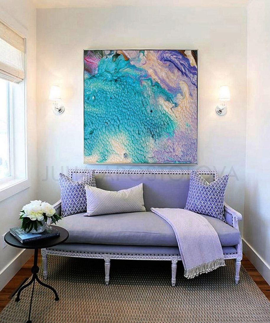 Abstract Seascape, Beach Wall Decor, Turquoise Abstract Painting With Regard To Newest Large Coastal Wall Art (View 7 of 20)