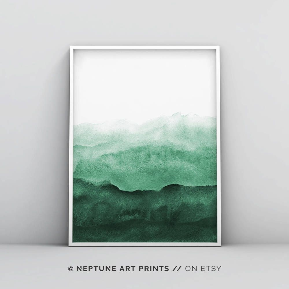 Abstract Wall Art Print, Green Painting, Emerald, Teal Decor, Modern Within Most Recent Green Wall Art (View 9 of 20)