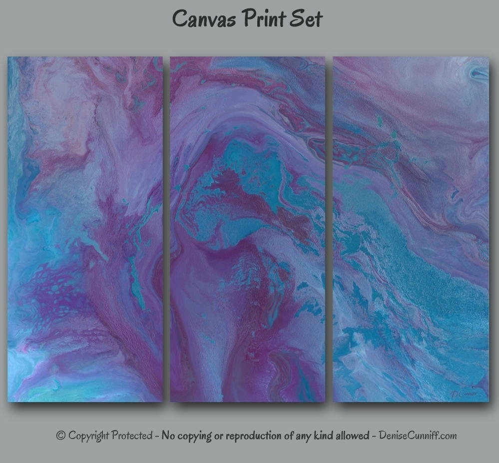 Abstract Wall Art Purple Blue Plum Grey 3 Pc Canvas Print In Latest Oversized Teal Canvas Wall Art (View 5 of 20)