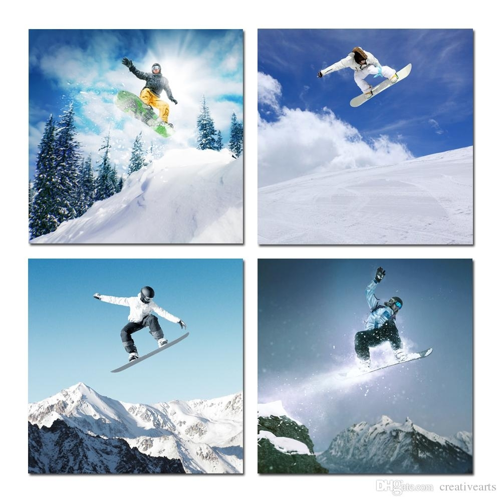 Acheter Toile Wall Art Snowboard Sports D'hiver Pour La Maison Décor With Regard To Current Sports Wall Art (View 2 of 20)