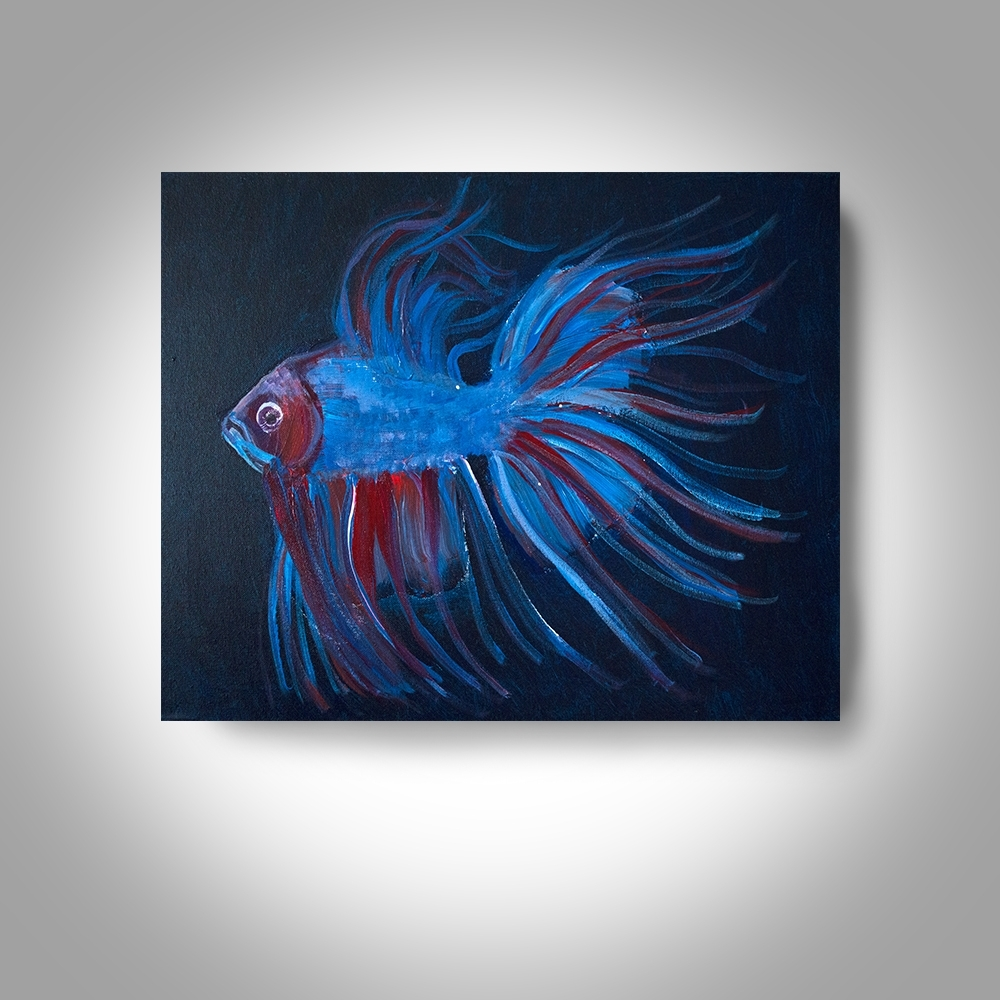 Acrylic Fighting Fish – 20 X16 Canvas Painting, Wall Art, Home Decor Throughout Best And Newest Fish Painting Wall Art (View 7 of 20)