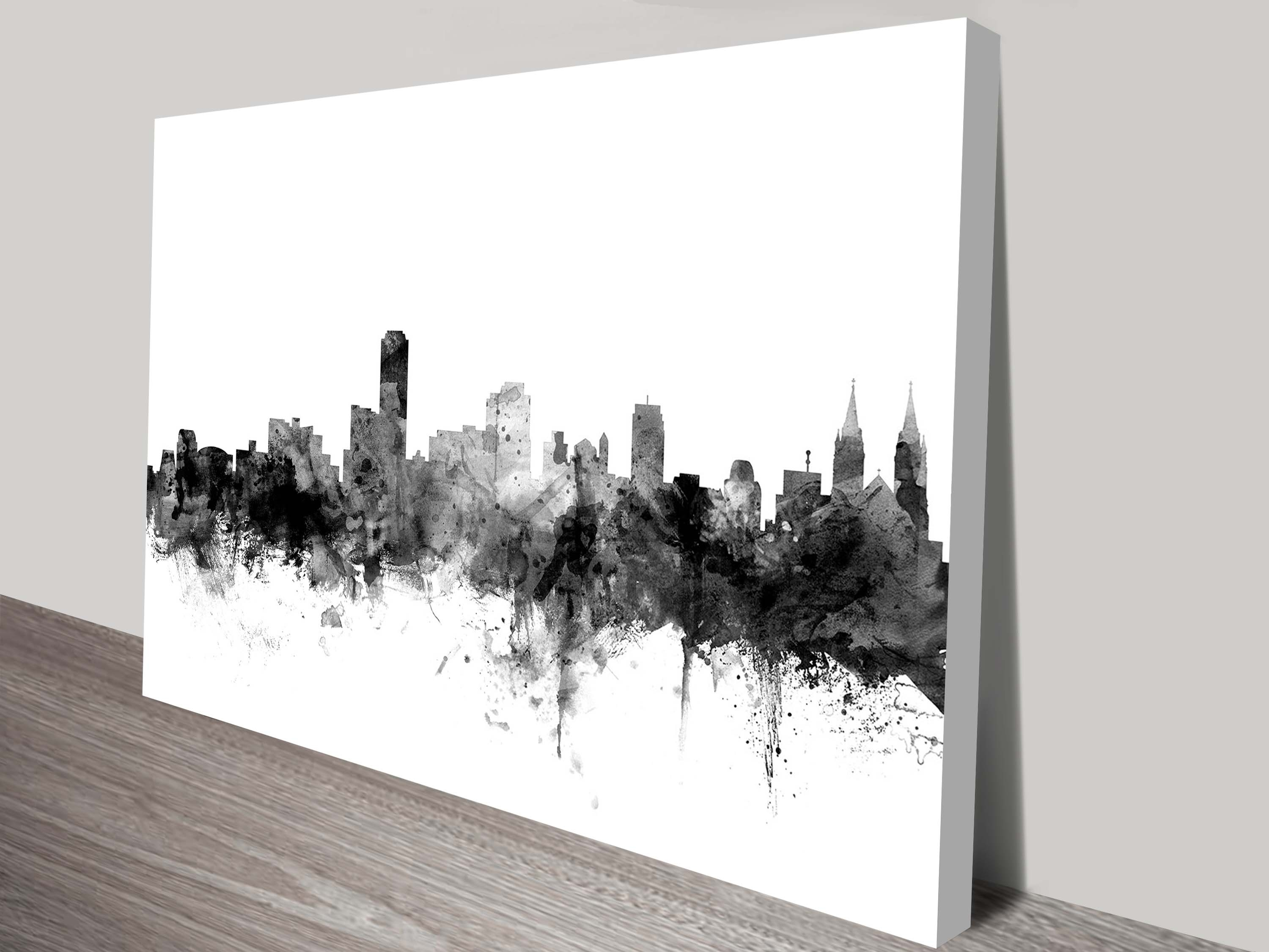 Adelaide Grey Watercolour Michael Tompsett Ready To Hang Art Print With Latest Grey And White Wall Art (View 10 of 20)