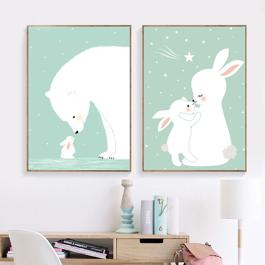 Afflatus Kawaii Rabbit Nordic Poster Canvas Painting Wall Art Canvas Pertaining To 2018 Bunny Wall Art (View 4 of 20)