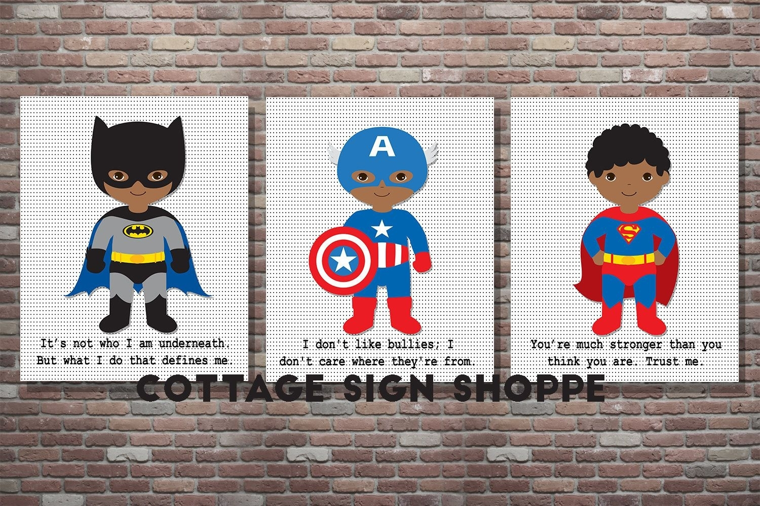 African American, Superhero Decor, Superhero Wall Art,set, Digital For Best And Newest Superhero Wall Art (View 2 of 20)