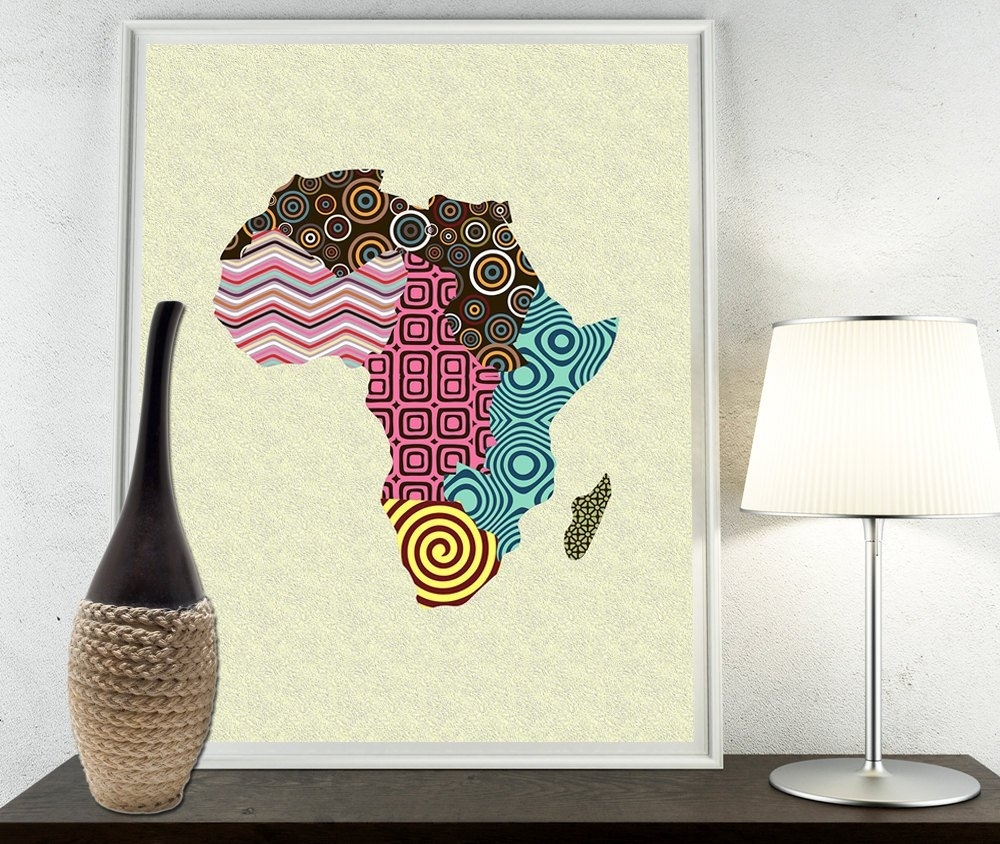African Print Map Decor, African Wall Art, African Map Art, African In Latest African Wall Art (View 6 of 15)