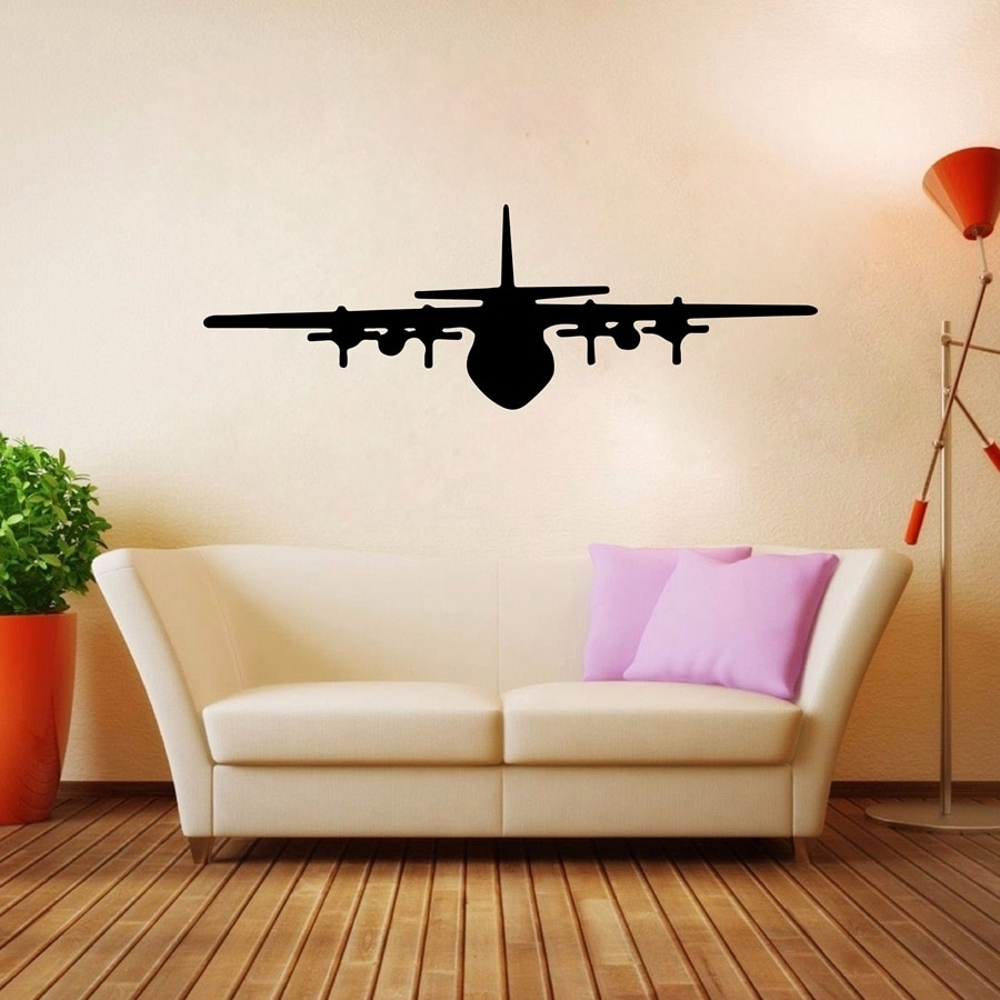 Airplane Wall Art Decals Vinyl Wall Sticker Aircraft Design For Regarding Latest Airplane Wall Art (View 7 of 20)