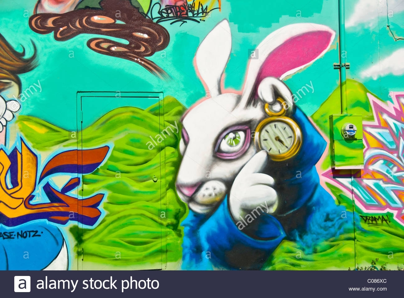 "Alice In Wonderland"" Graffiti Wall Art Mural Detail In Wynwood Art Within 2018 Florida Wall Art (View 1 of 20)"