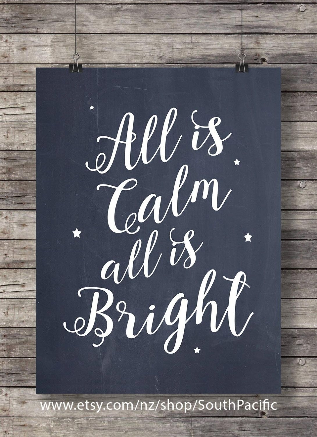 "All Is Calm, All Is Bright – ""silent Night"" Lyrics Chalkboard Throughout Best And Newest Chalkboard Wall Art (View 3 of 20)"