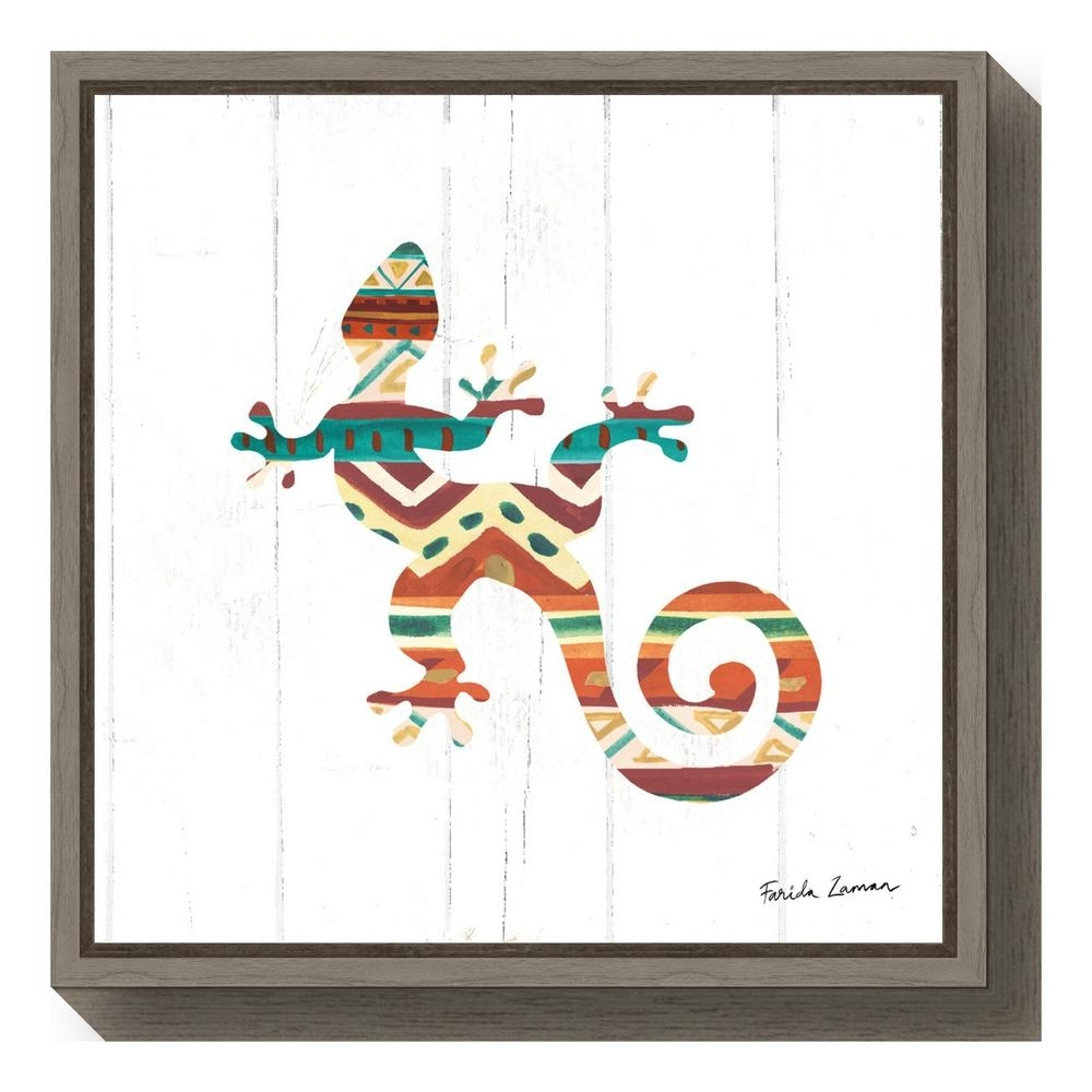 "Amanti Art ""southwestern Vibes V Gecko""farida Zaman Framed Intended For 2018 Gecko Canvas Wall Art (View 4 of 20)"