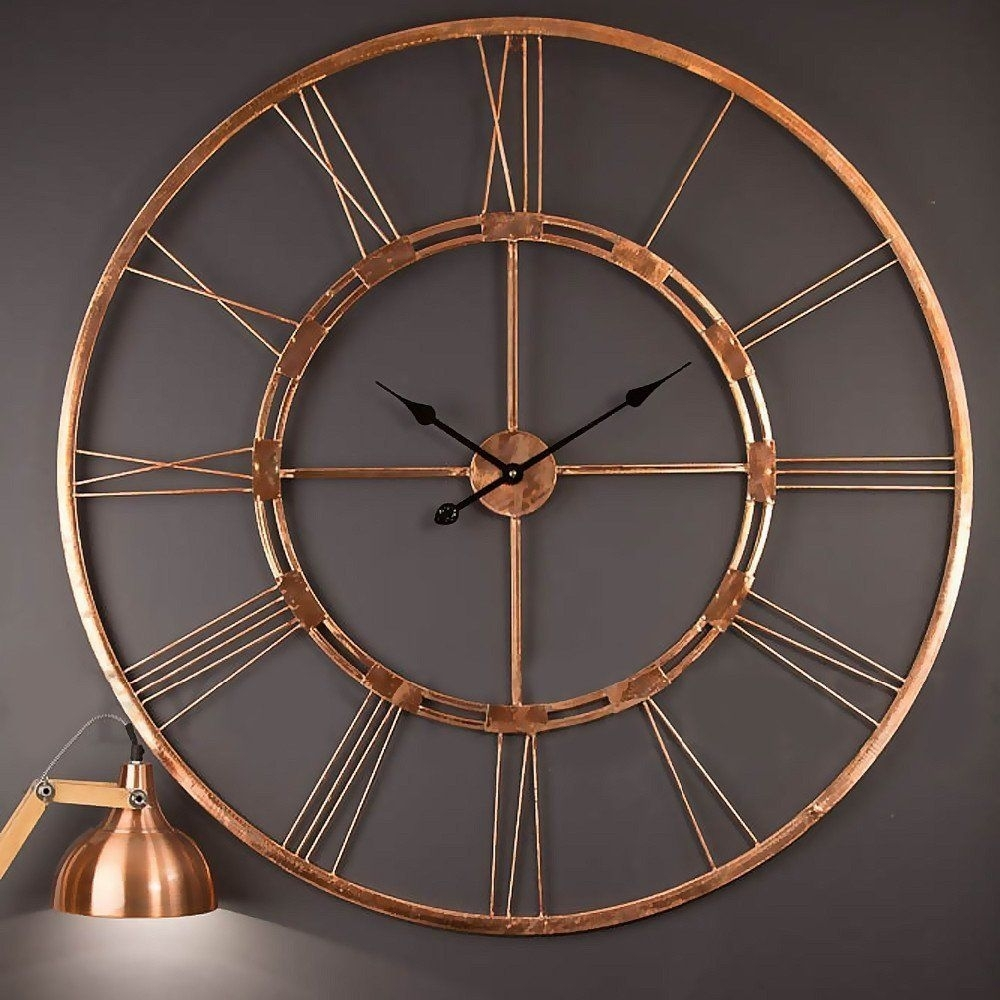 Amazonsmile: Handmade Large Copper Color Metal Wall Clock Metal Wall Inside Recent Copper Wall Art (View 1 of 15)
