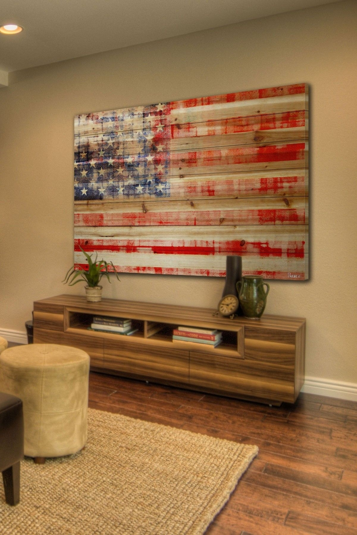 American Flag Brown Distressed Wood Wall Artmarmont Hill Inc (View 2 of 15)