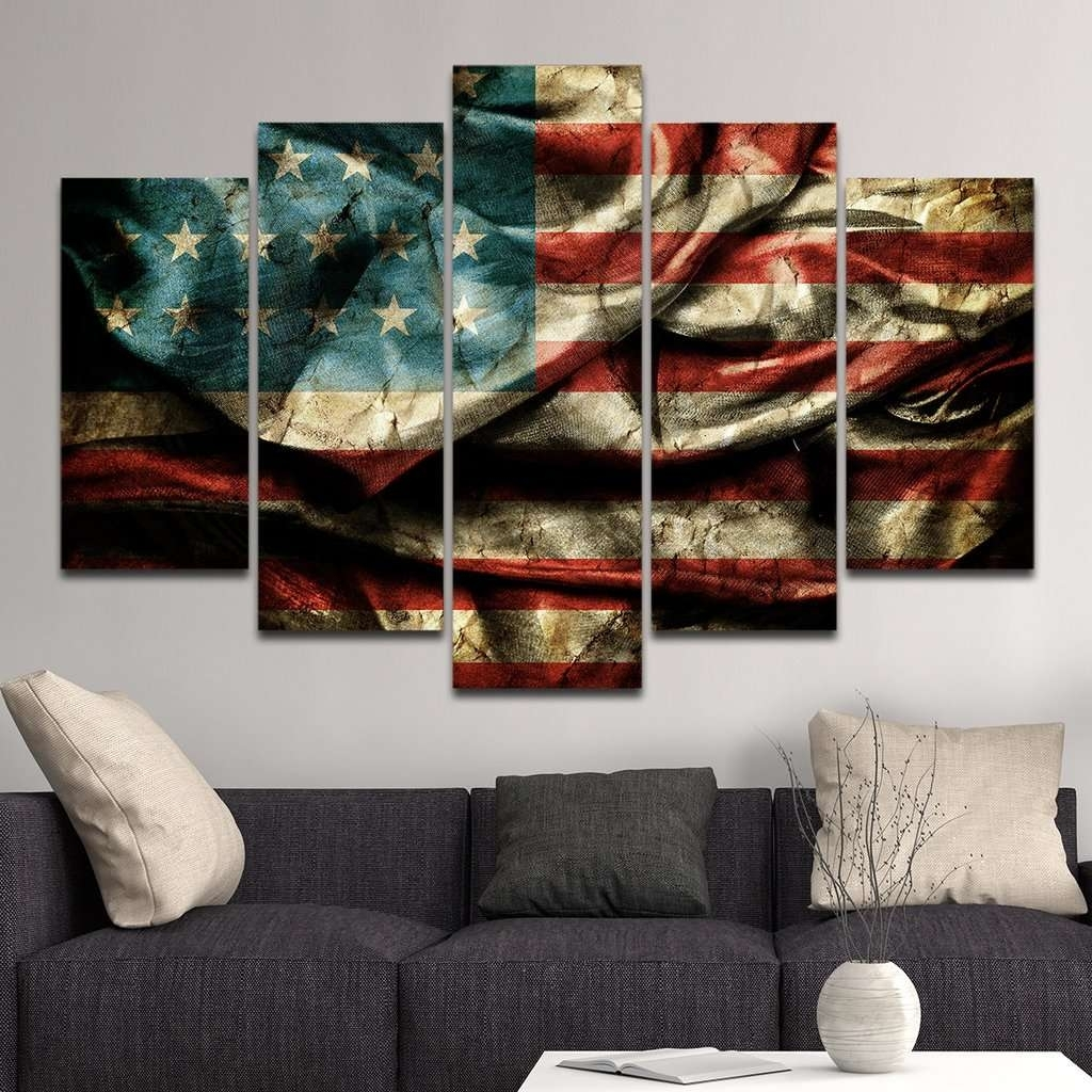 American Flag Multi Panel Canvas Wall Art – Mighty Paintings With Regard To Newest American Flag Wall Art (View 6 of 15)