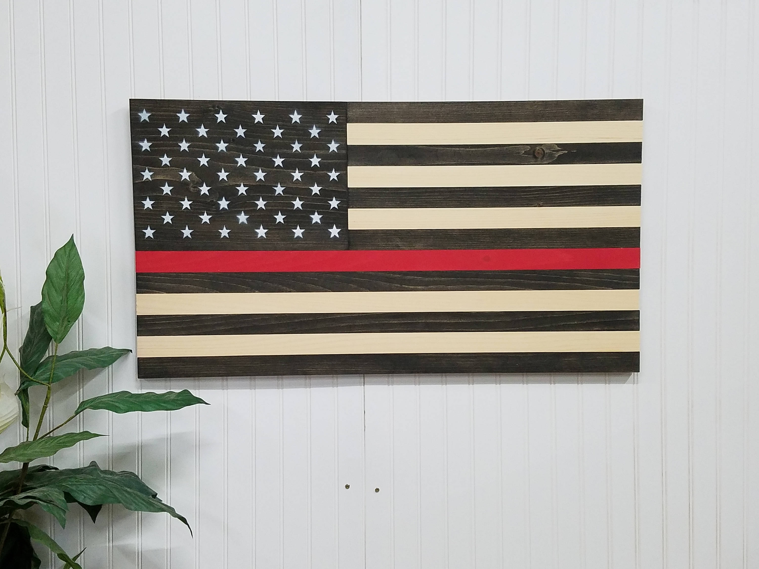 American Flag Thin Red Line Theme Wooden Wall Mount Art Decor Usa Pertaining To Latest Wooden American Flag Wall Art (View 15 of 20)