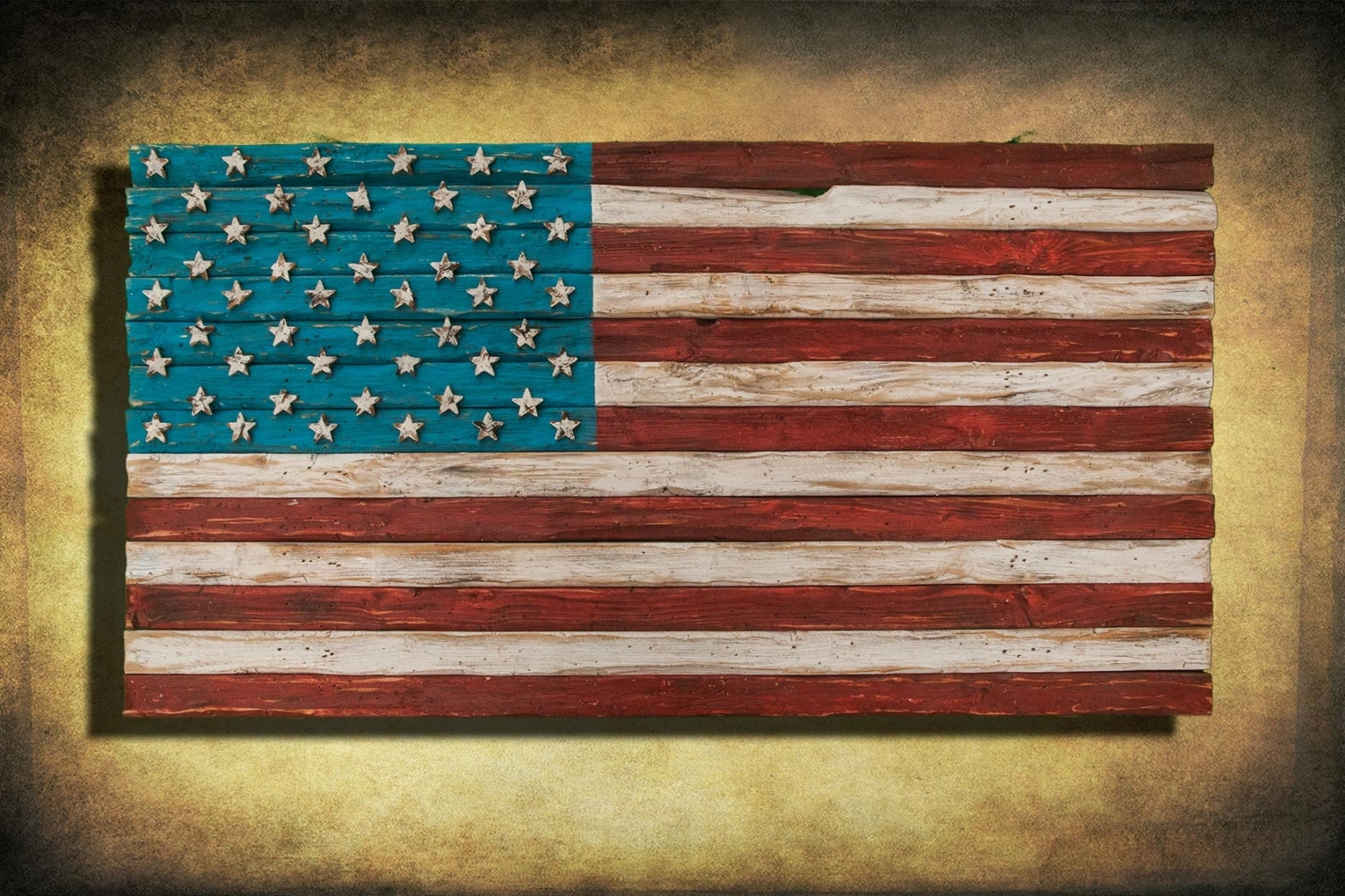 American Flag, Weathered Wood, One Of A Kind, 3d, Wooden, Vintage With Regard To Latest Vintage American Flag Wall Art (View 9 of 20)