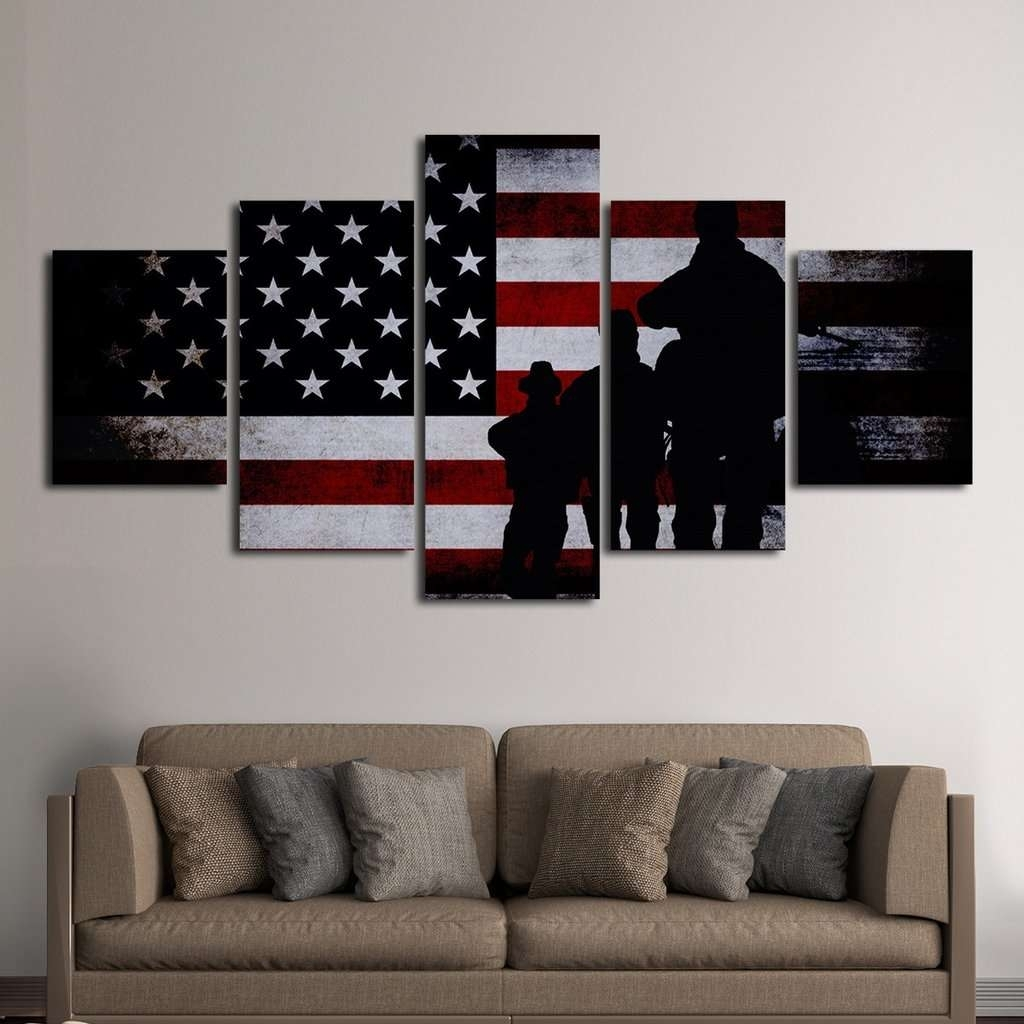 American Flag With Soldiers Multi Panel Canvas Wall Art – Mighty For Most Recently Released Multi Panel Wall Art (View 4 of 15)