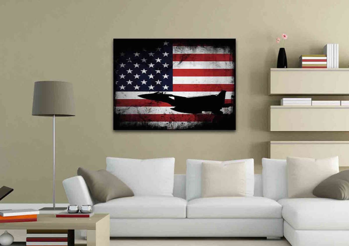American Flag With Us Navy Airforce Jet Airplane Wall Art Canvas Intended For 2017 Airplane Wall Art (View 11 of 20)