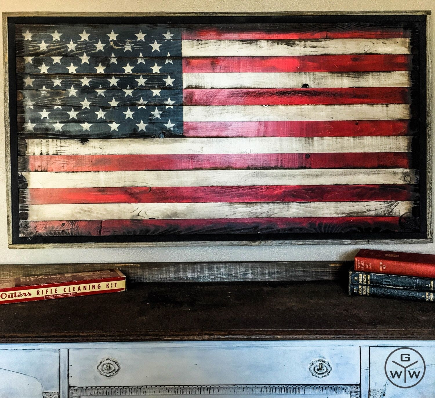 American Flag Wood American Flag Wall Art Rustic American Flag Us Intended For Recent Rustic American Flag Wall Art (View 3 of 20)