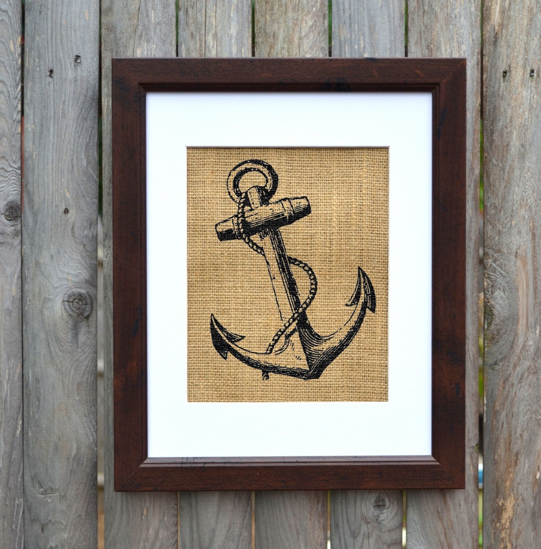 Anchor Burlap Wall Art, Nautical Wall Art, Burlap Decor, Frame Pertaining To Latest Anchor Wall Art (View 13 of 20)